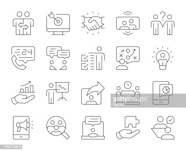 business consulting-thin line icons - umschulung stock-grafiken, -clipart, -cartoons und -symbole