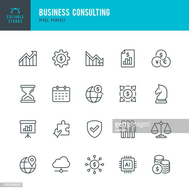 business consulting - thin line vector icon set. pixel perfect. editable stroke. the set contains icons: business strategy, diagram, financial report, artificial intelligence, group of people, financial process. - balance stock illustrations