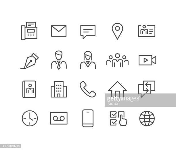 business contact icons - classic line series - locator map stock illustrations