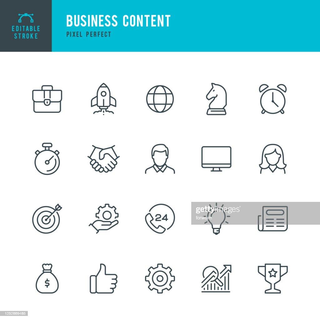 Business Content - Thin Line-Vektor-Symbol-Set. Pixel perfekt. Bearbeitbarer Strich. Das Set enthält Symbole: Startup, Geschäftsstrategie, Datenanalyse, Budget, Ziel, Auszeichnung, Portfolio, Mann, Frauen, Idee, Kontakt. : Stock-Illustration