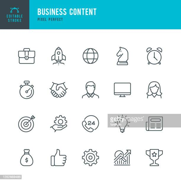 stockillustraties, clipart, cartoons en iconen met zakelijke inhoud - pictogramset voor vectoren voor dunne lijn. pixel perfect. bewerkbare lijn. de set bevat pictogrammen: startup, business strategy, data analysis, budget, target, award, portfolio, man, women, idea, contact us. - idee