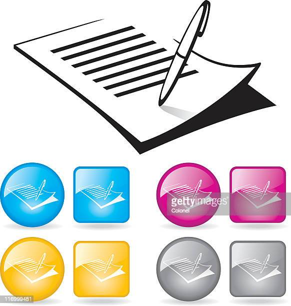 business contract icons in circle and square buttons - signing stock illustrations, clip art, cartoons, & icons