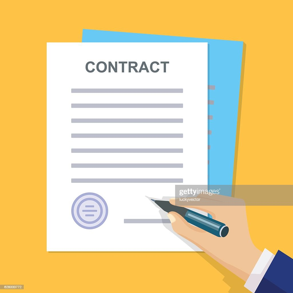 Business contract with signature. Flat style. Vector illuatratio