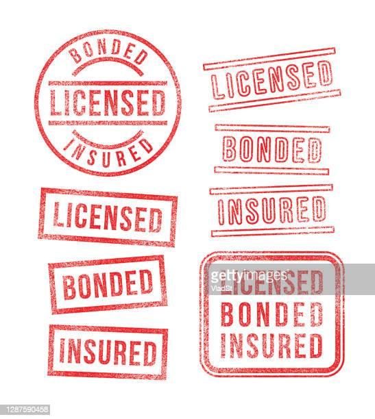 illustrations, cliparts, dessins animés et icônes de entrepreneur d'affaires tampons en caoutchouc sous licence assurés - permis de conduire