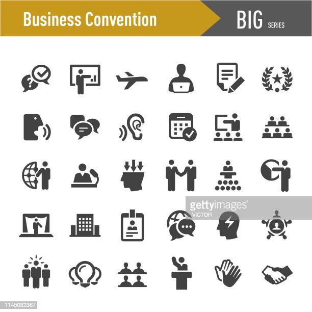 business convention icons-big series - messen stock-grafiken, -clipart, -cartoons und -symbole