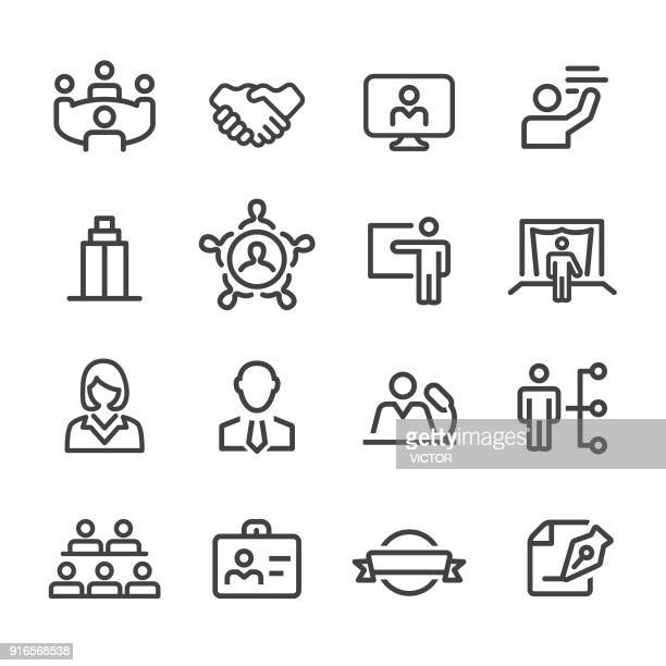 business convention icons - line series - video conference stock illustrations