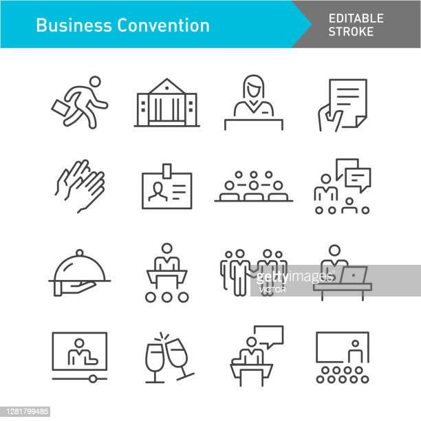 ilustrações, clipart, desenhos animados e ícones de conjunto de ícones da convenção de negócios - série de linhas - traçado editável - comício político