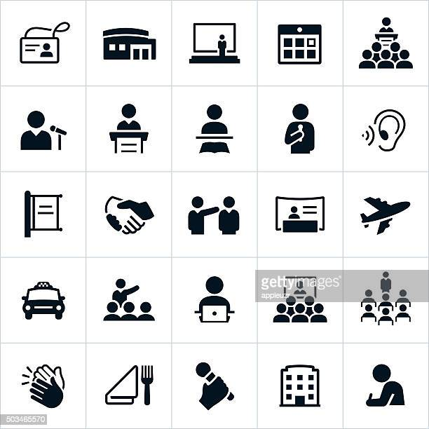 business convention icons - microphone transmission stock illustrations