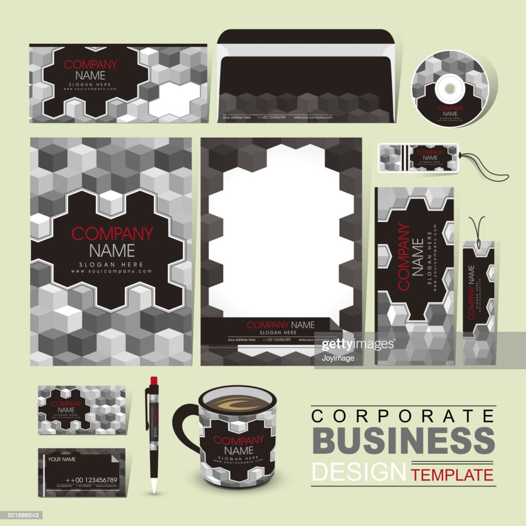 Business Corporate Identity Template With Grayscale Blocks Vector ...