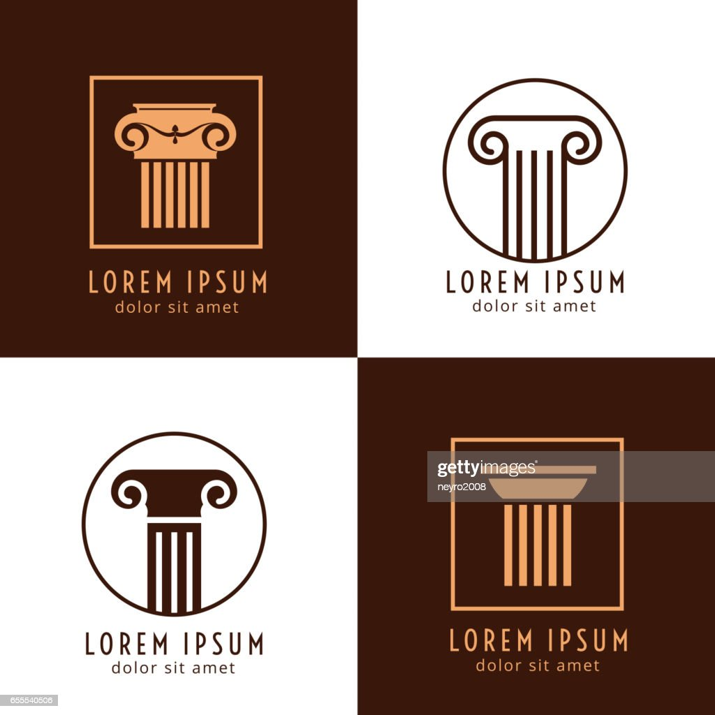 Business corporate identity with columns. Ancient column logo vector set