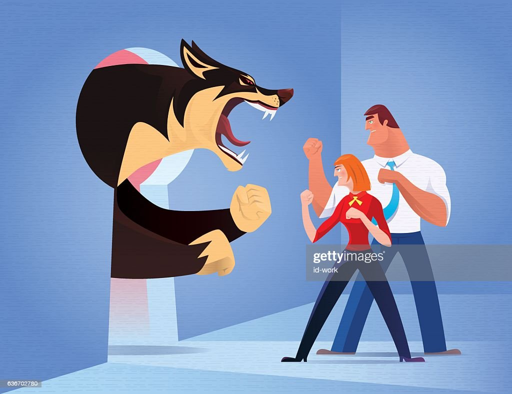 business couple fighting against angry wolf