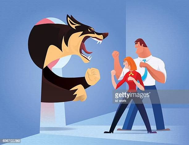 ilustraciones, imágenes clip art, dibujos animados e iconos de stock de business couple fighting against angry wolf - fighting stance