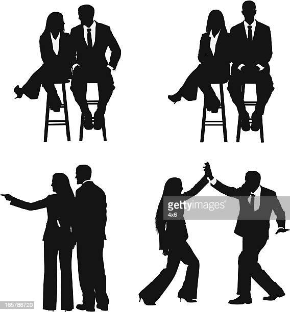 business couple high five - stool stock illustrations, clip art, cartoons, & icons