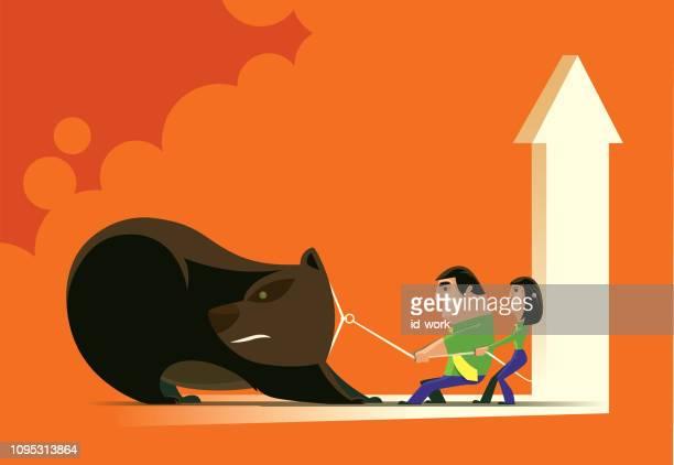 business couple pulling bear - bear market stock illustrations