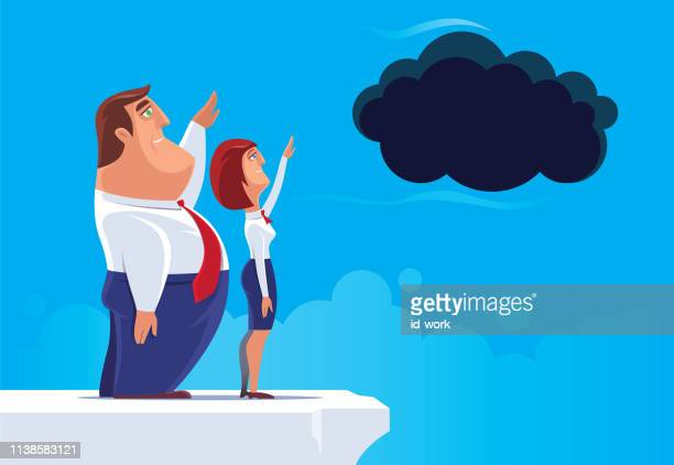 business couple waving to black cloud - fat female cartoon characters stock illustrations