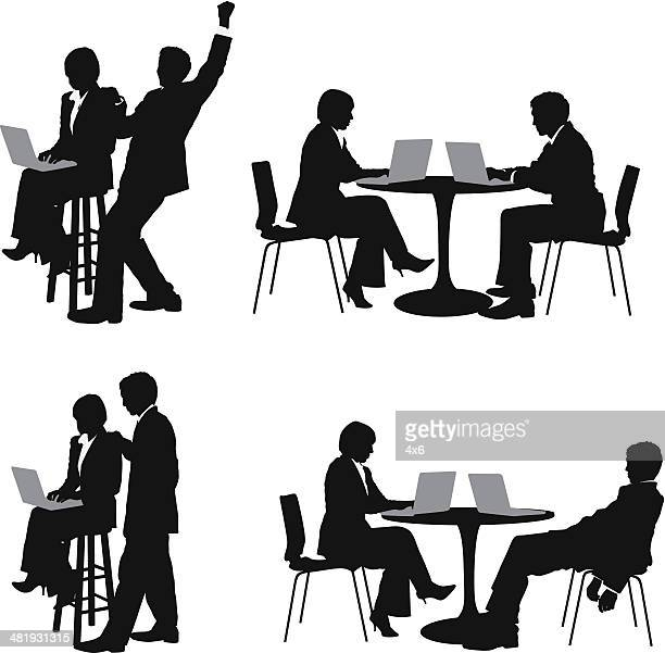 business couple working on laptops - bad posture stock illustrations, clip art, cartoons, & icons
