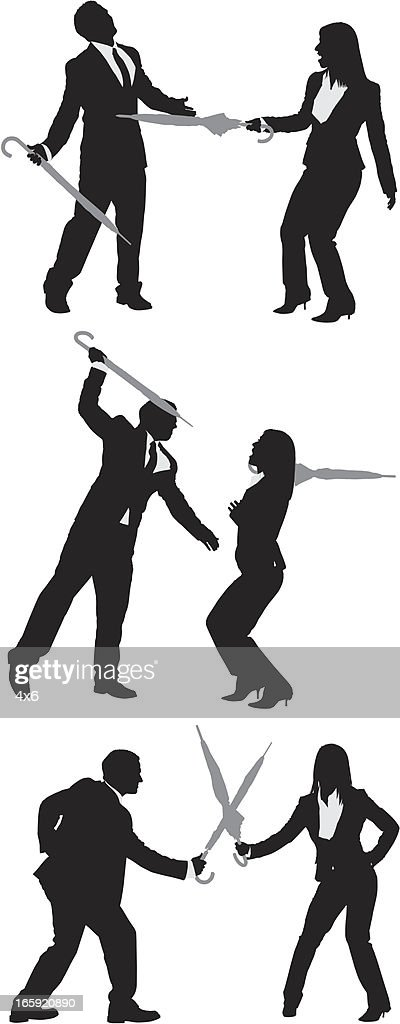 Business couples fighting with umbrellas : stock illustration