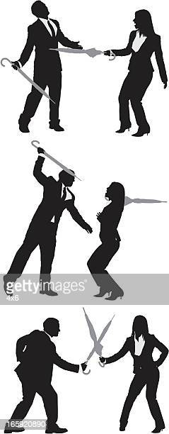 business couples fighting with umbrellas - fighting stance stock illustrations, clip art, cartoons, & icons