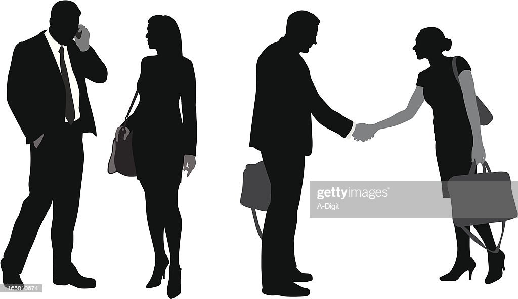 Business Couples Vector Silhouette