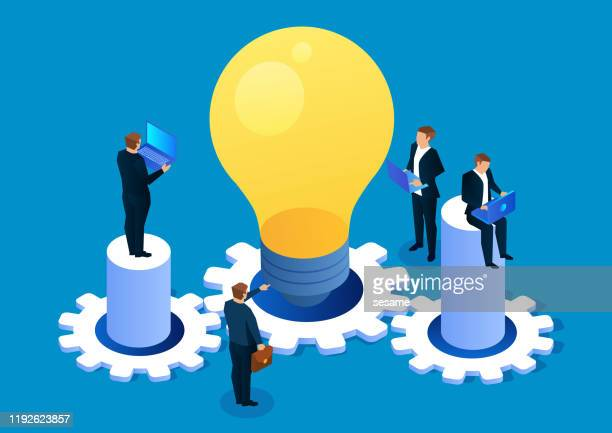 business creativity and team work - ideas stock illustrations