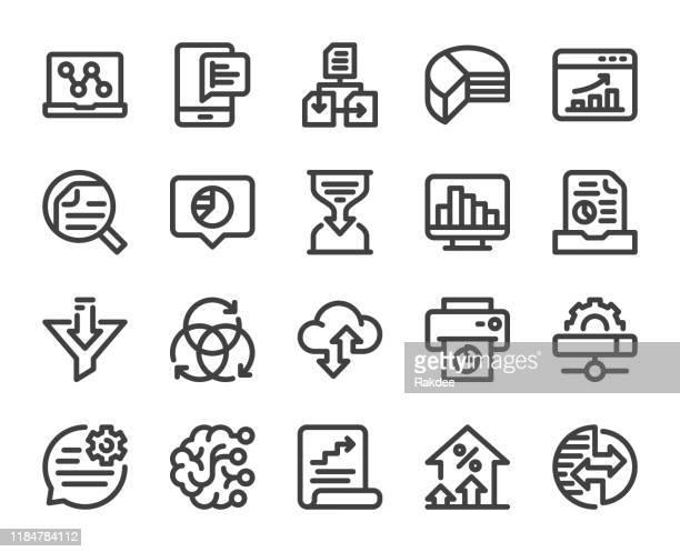 ilustraciones, imágenes clip art, dibujos animados e iconos de stock de análisis de datos empresariales - iconos de línea en negrita - filtración