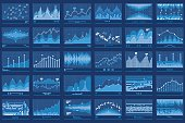 Business Data Financial Charts Blue Banner