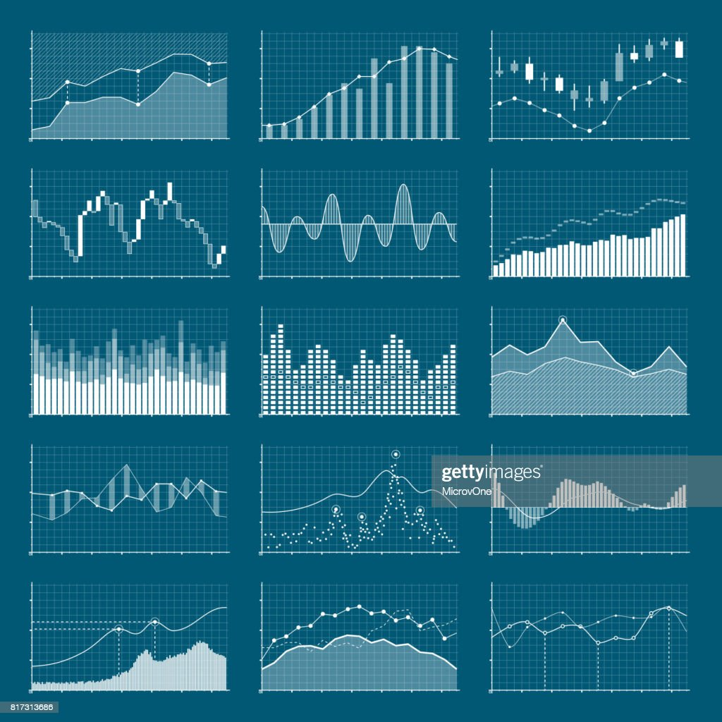 Business data financial charts. Stock analysis graphics. Growing and falling market graphs vector set