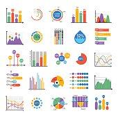 Business data graph analytics vector elements