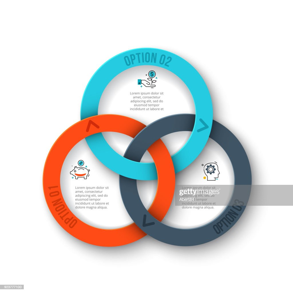 Business data visualization. Abstract rings of cycle diagram with 3 steps, options, parts or processes. Vector business template for presentation. Creative concept for infographic.