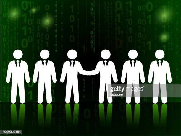 Business Deal and Partnership on Binary Code Black Background