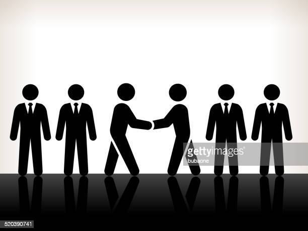 business deals and partners black and white illustration - stick figure stock illustrations
