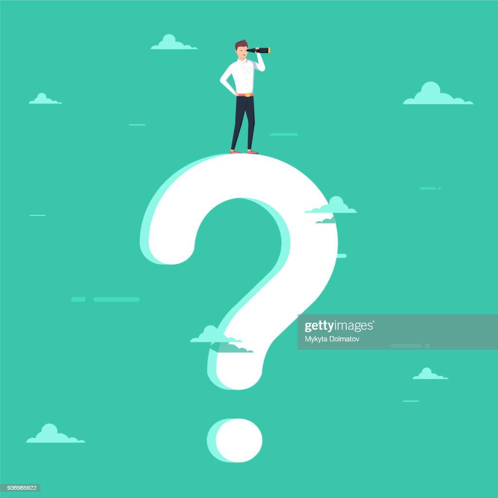 Business decision vector concept with businessman visionary standing on giant question mark. Symbol of business vision