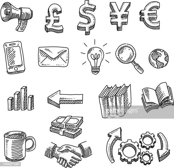 business design elements drawing - pen and ink stock illustrations
