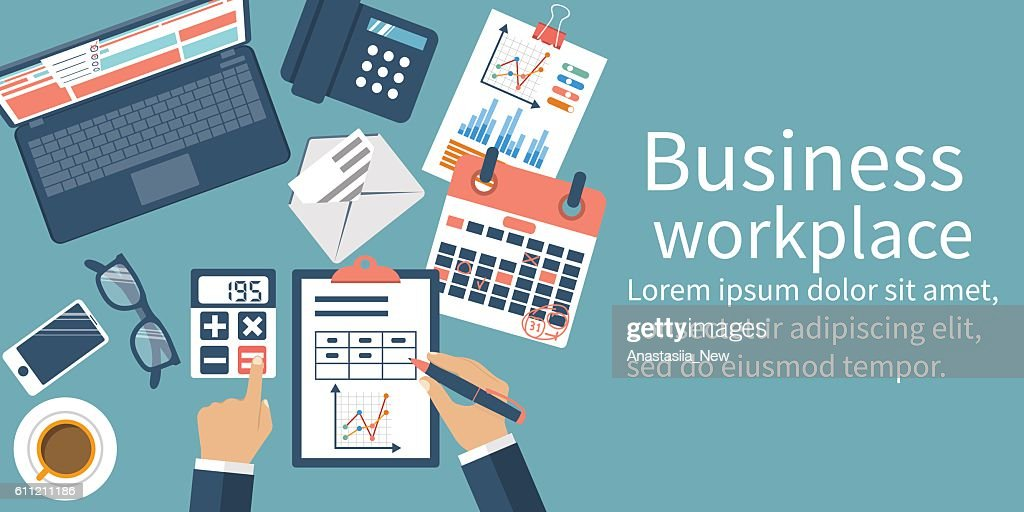 Business desktop with documents