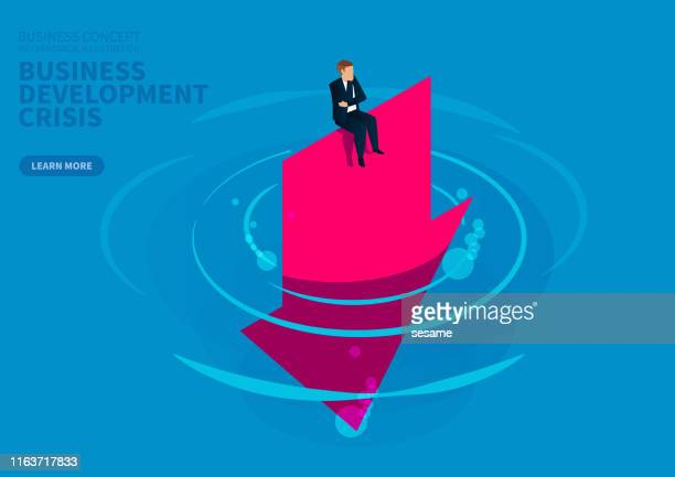 business development deteriorates, businessman desperately sits on the arrow falling into the water - defeat stock illustrations