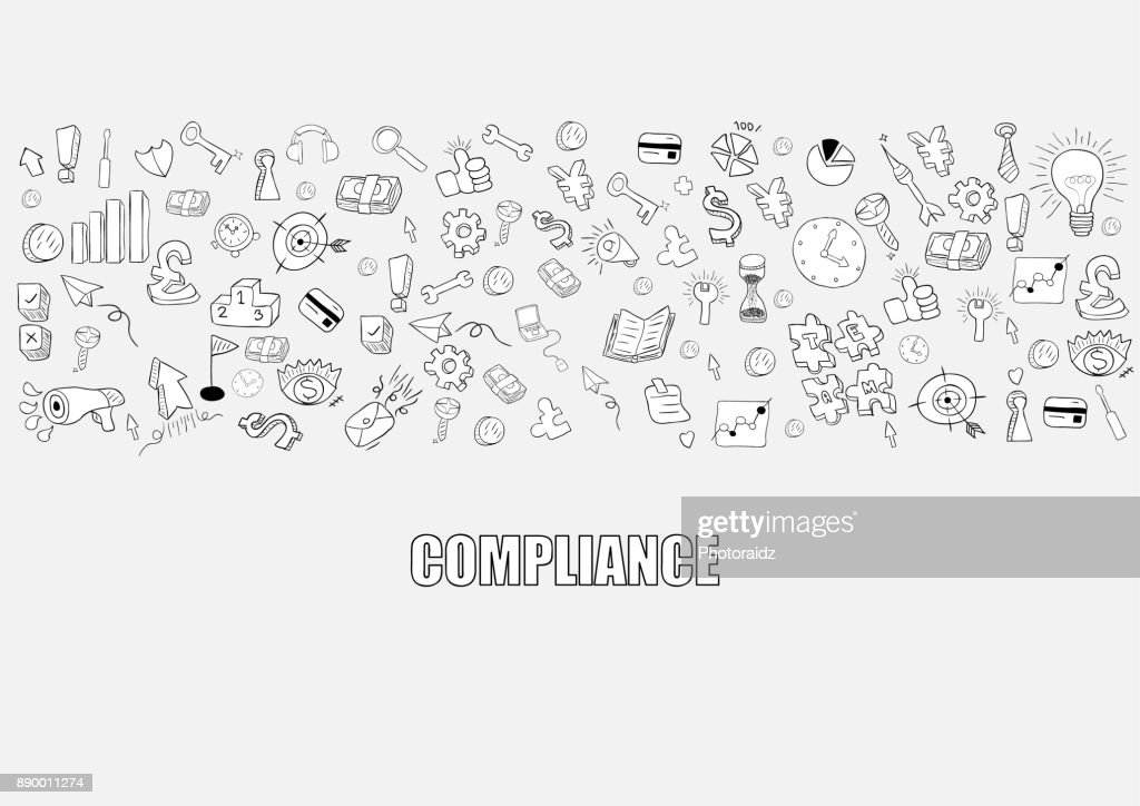 Business development doodles objects background, compliance,  drawing by hand vector