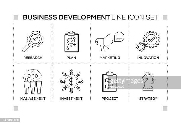 Business Development keywords with monochrome line icons