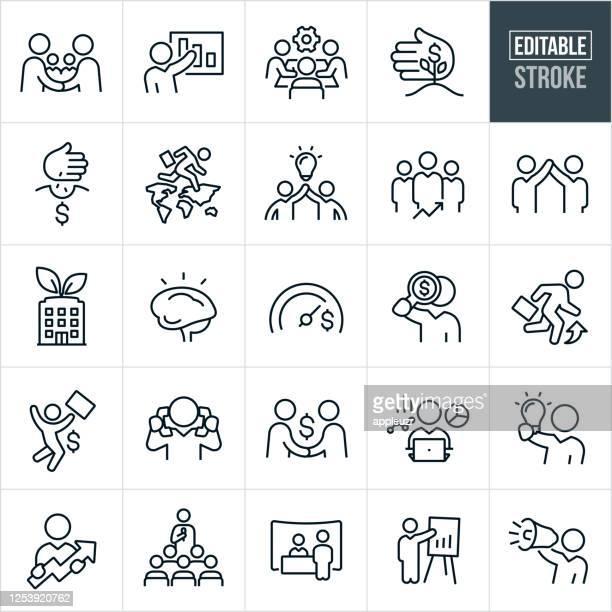 ilustraciones, imágenes clip art, dibujos animados e iconos de stock de iconos de línea delgada de desarrollo de negocios - trazo editable - oficio de ventas