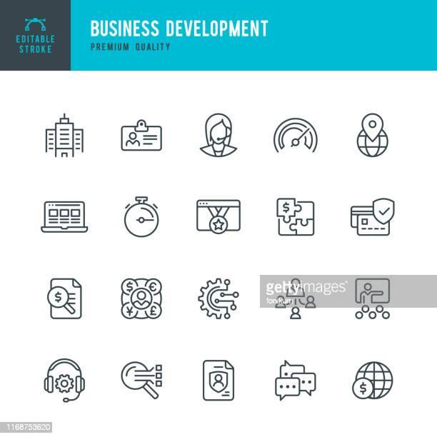 stockillustraties, clipart, cartoons en iconen met business development-pictogram van de vector lijn instellen. bewerkbare lijn. pixel perfect. set bevat pictogrammen zoals office, support, management, insurance, webinar. - kantoor