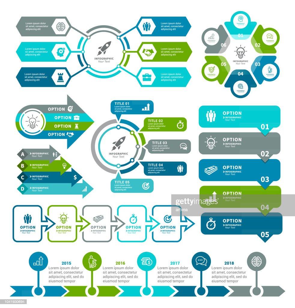 Zakelijke diagrammen en elementen van de Infographic : Stockillustraties