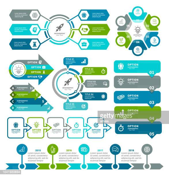 business diagrams and infographic elements - vertical stock illustrations