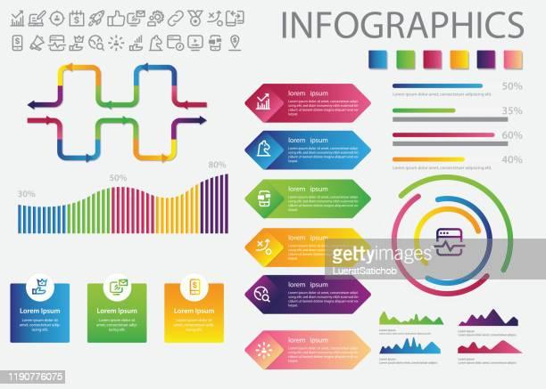 ビジネス図とインフォグラフィック アイコン - 五つ点のイラスト素材/クリップアート素材/マンガ素材/アイコン素材