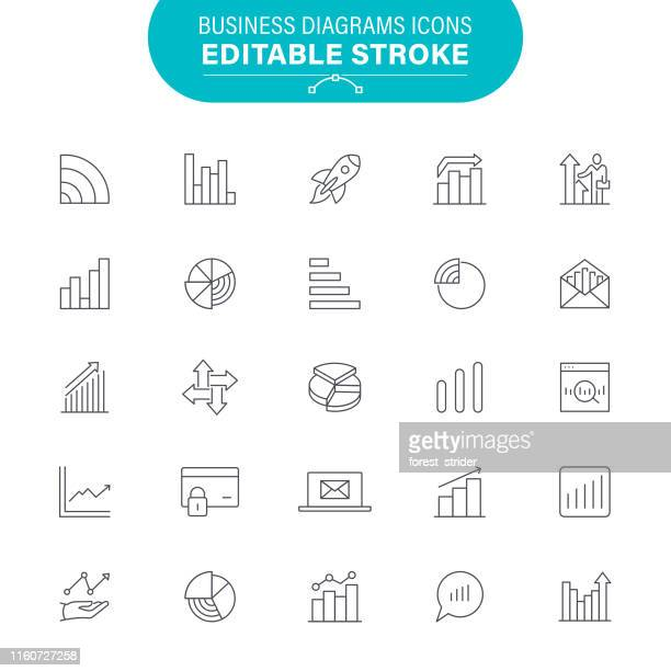 business diagrams icons - line graph stock illustrations