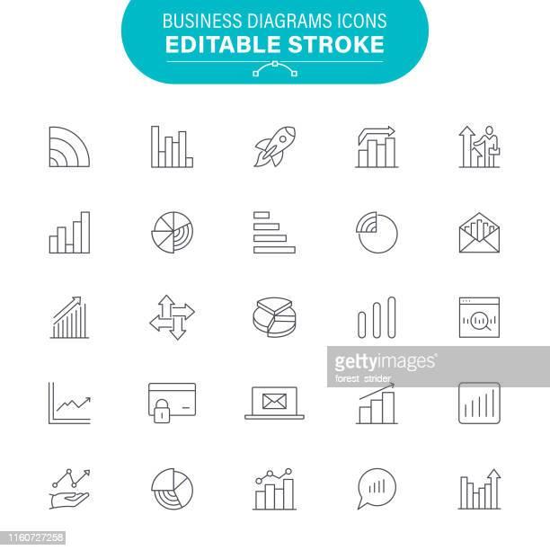 business-diagramme-symbole - liniendiagramm stock-grafiken, -clipart, -cartoons und -symbole