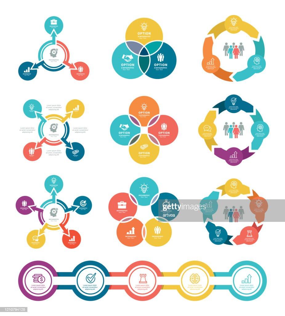Diagramas de negocios con 3, 4, 5 pasos : Ilustración de stock