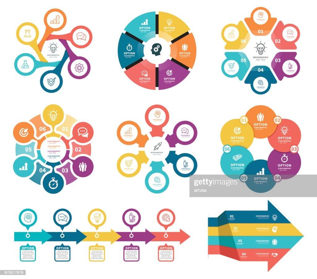 Geschäftsdiagramme mit 6 Stufen. : Stock-Illustration