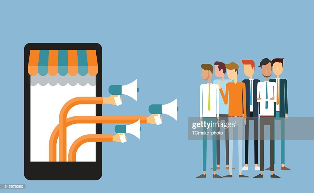 business digital marketing on mobile and .business announce advertisement concept