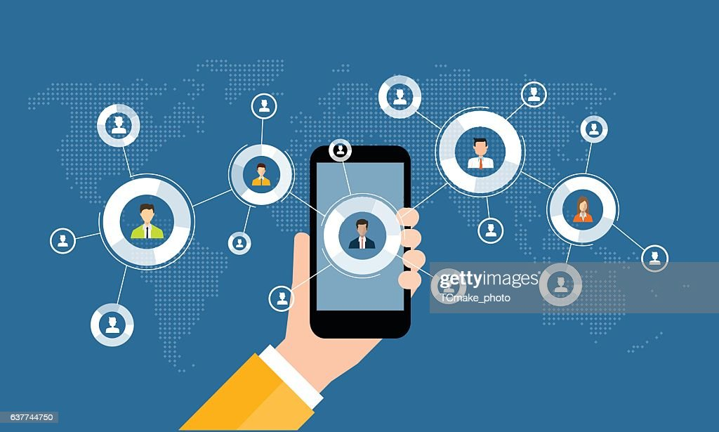 business digital marketing online connection on mobile