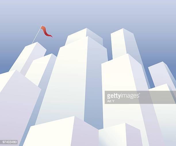 ilustraciones, imágenes clip art, dibujos animados e iconos de stock de distrito de negocios - vista de ángulo bajo