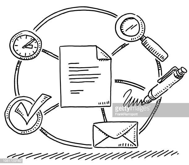 ilustraciones, imágenes clip art, dibujos animados e iconos de stock de verificación de negocios documento símbolos dibujo - firma